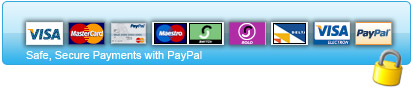 Pay with all major credit cards and PayPal